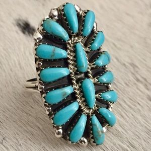 Navajo Signed Sterling & Turquoise Cluster Ring